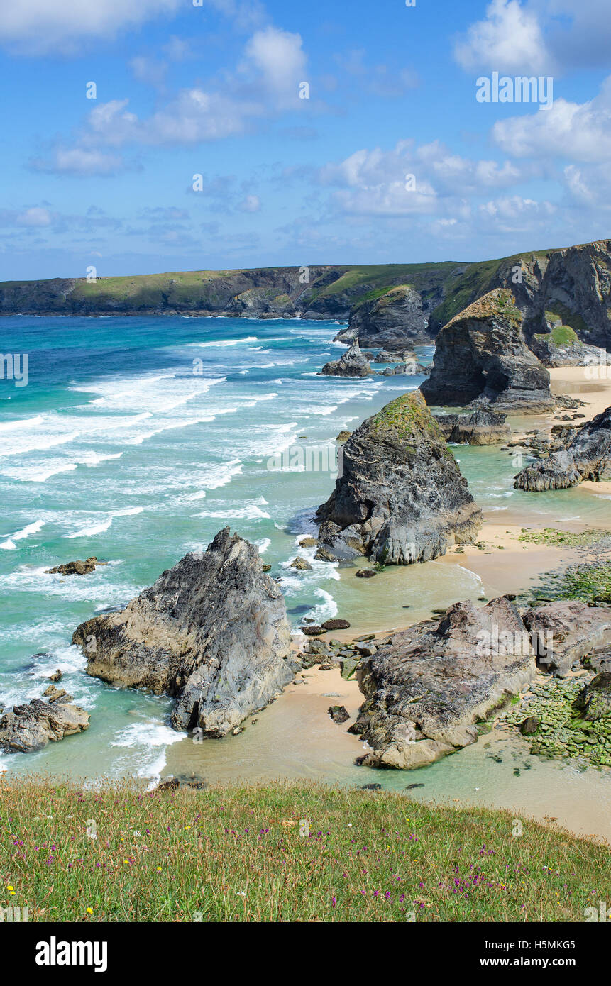 Bedruthan steps rocks on the north coast of Cornwall, England, UK - Stock Image