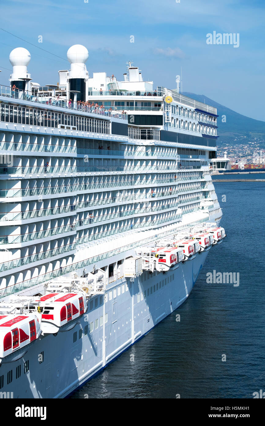 The Norwegian epic cruise ship in port at Naples, Italy. - Stock Image