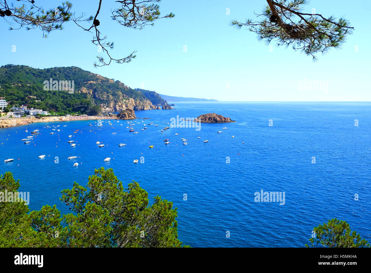 a view of the Costa Brava from Tossa De Mar, Spain - Stock Image