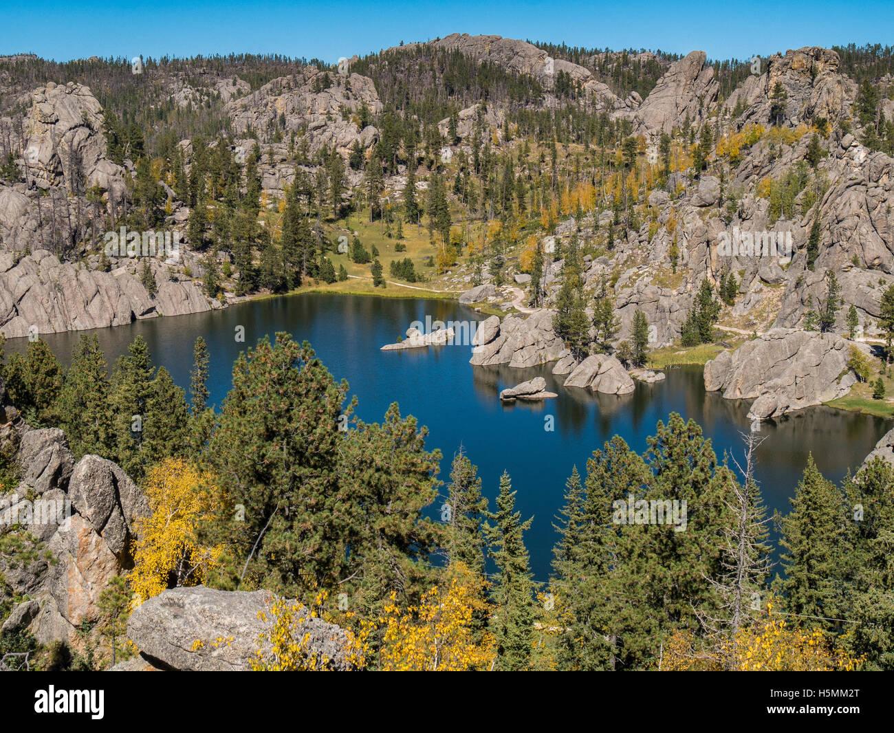 Sylvan Lake from the lodge, Custer State Park, Custer, South Dakota. - Stock Image