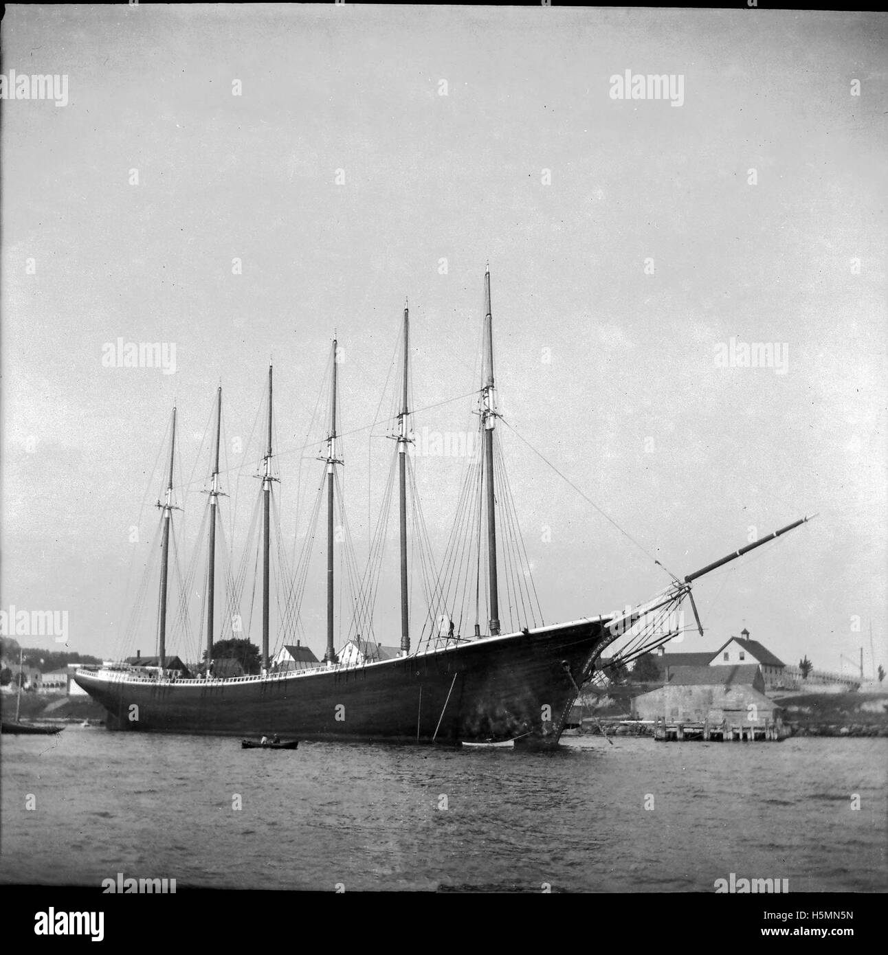 The 6-masted schooner George W. Wells, built in 1900 at the Bean shipyard, was perhaps the most famous vessel to - Stock Image