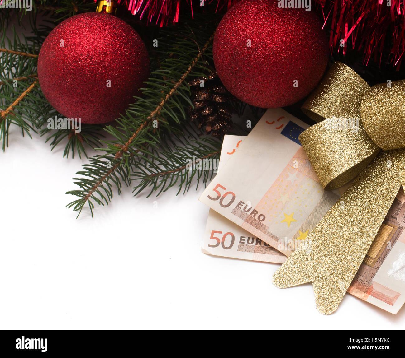 Christmas Gift box with Euro money on white background Stock Photo ...