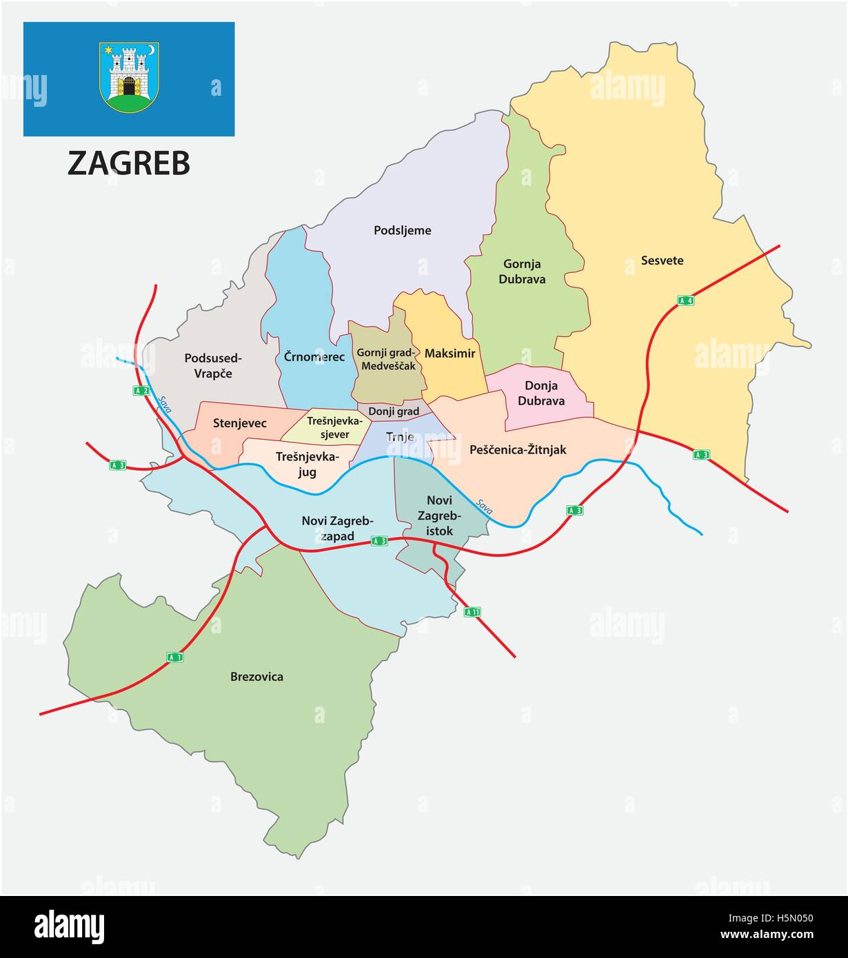 Administrative division map of croatia capital zagreb with flag - Stock Image