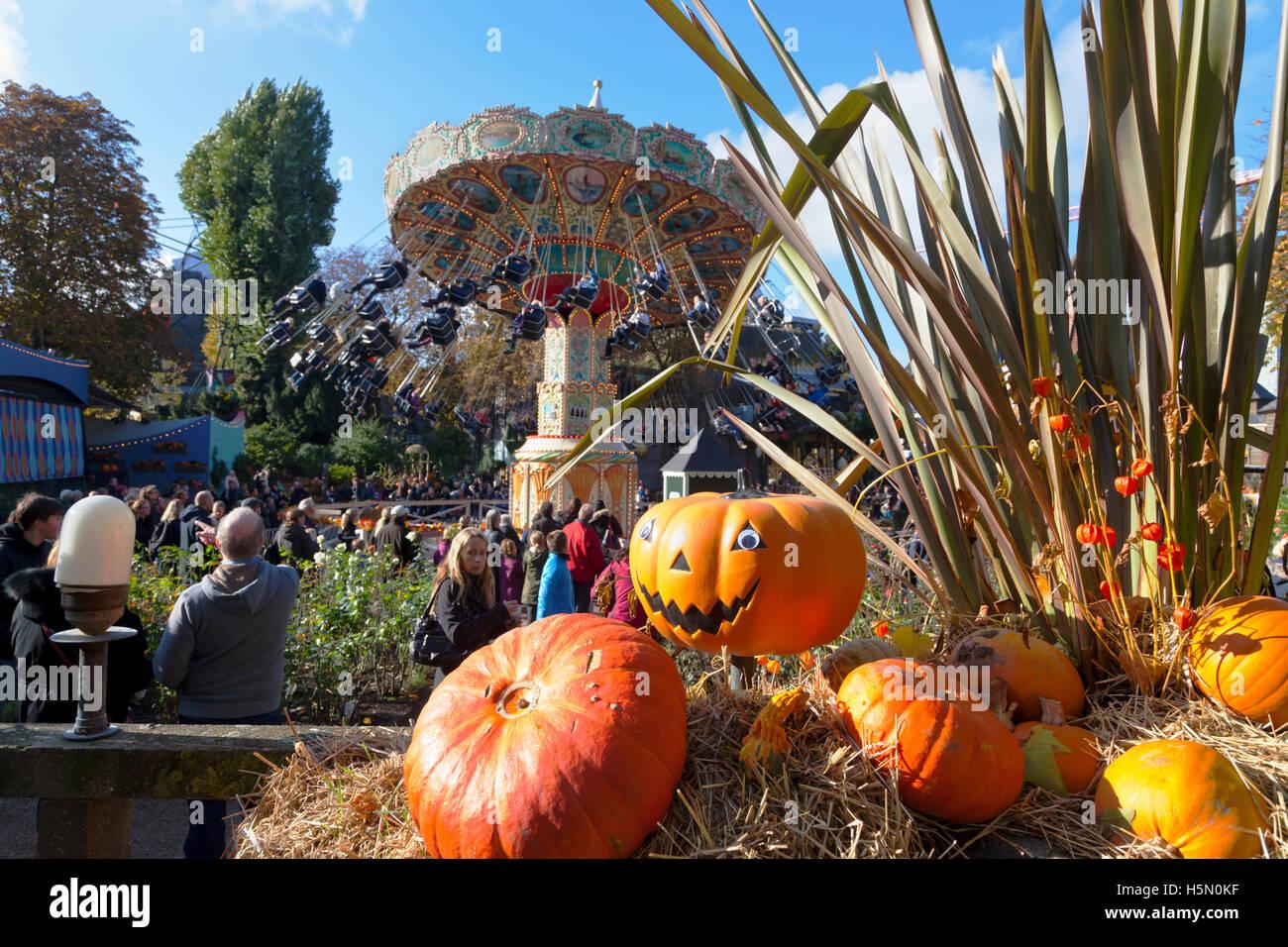 Halloween Pumpkin Installation In The Crowded Tivoli Gardens Stock