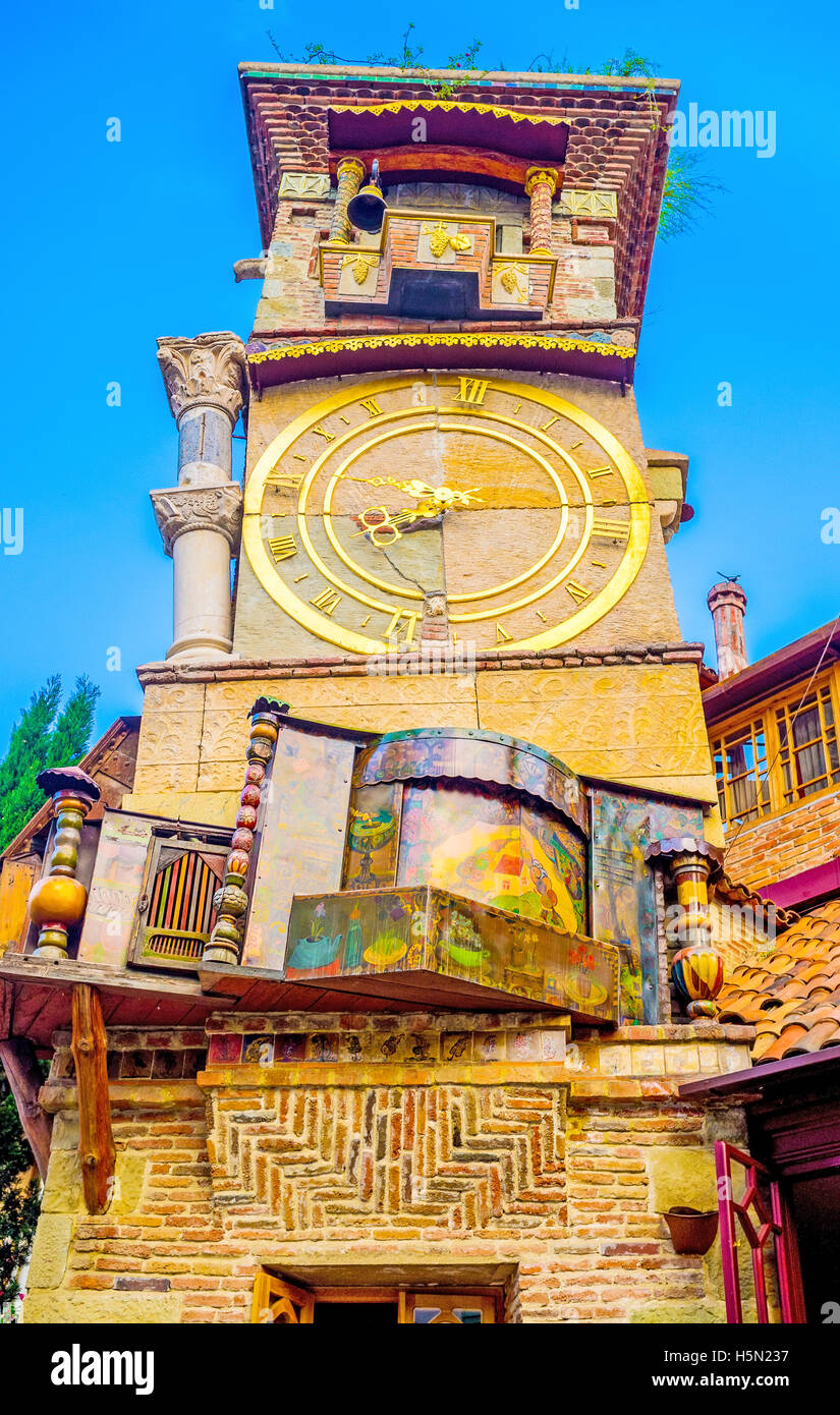 All the elements of the leaning tower of Puppet Theatre, look like dancing, Tbilisi, Georgia. - Stock Image