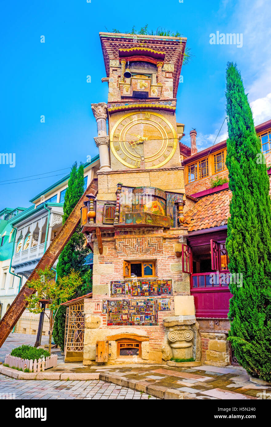 The unusual leaning tower of the Puppet Theatre attracts the tourists to visit Shavteli street and enjoy the view, - Stock Image