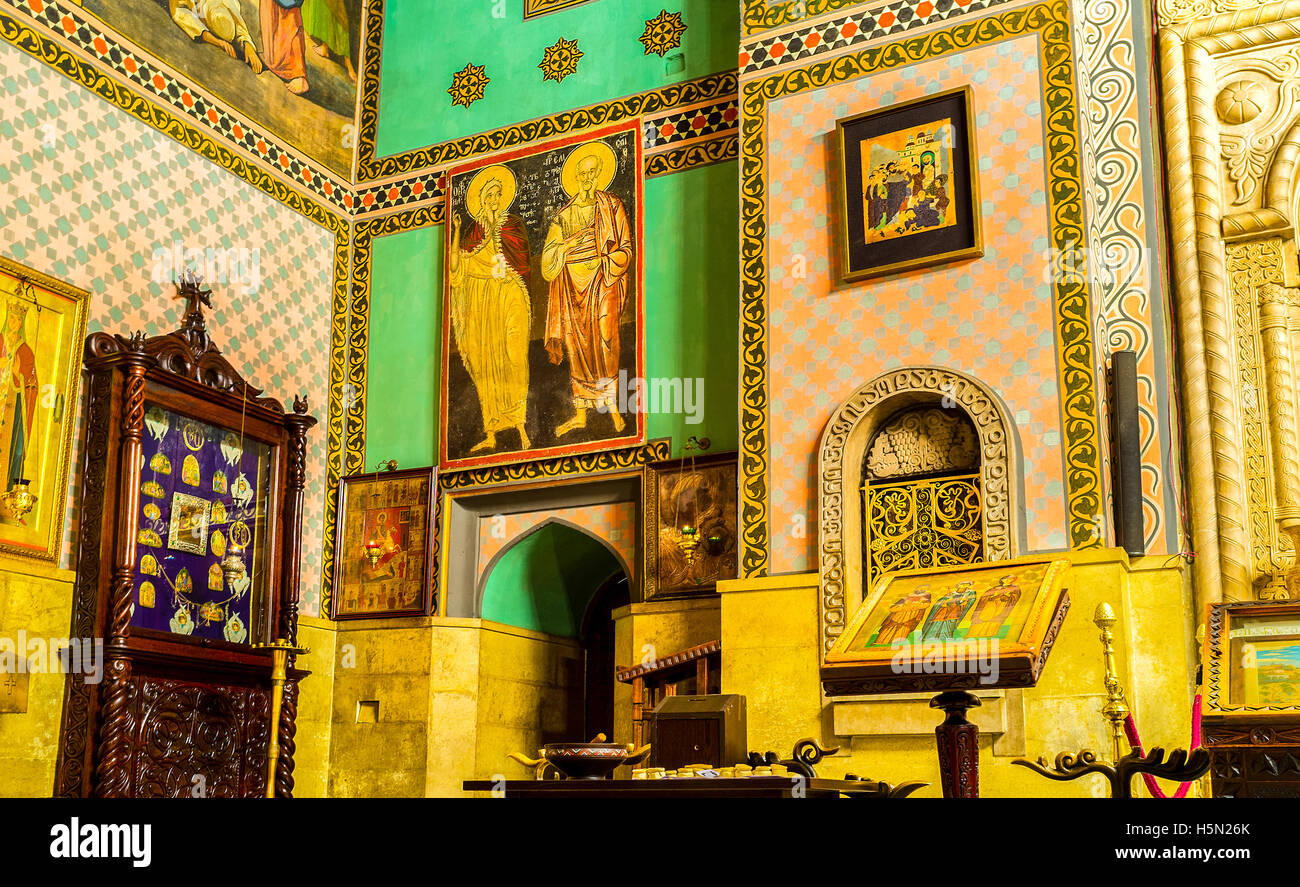 The Sioni Cathedral of Dormition decorated with icons, frescoes on walls, floral and stellar patterns, Tbilisi, - Stock Image