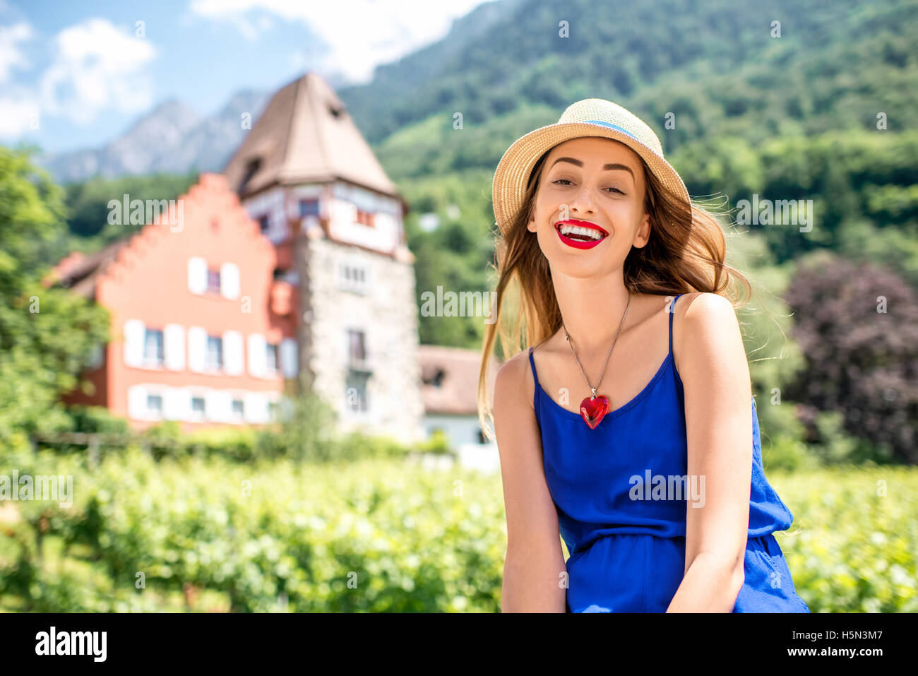 Woman traveling in Liechtenstein - Stock Image