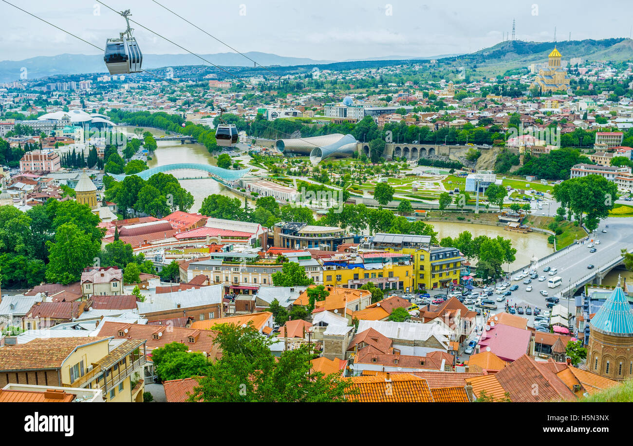 The view of the old town roofs and Kura River from the top of Sololaki Hill, Tbilisi, Georgia. Stock Photo