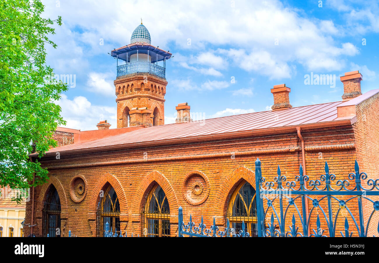 The Jumah Mosque, built of the red brick, located in Abanotubani district, Tbilisi, Georgia. - Stock Image