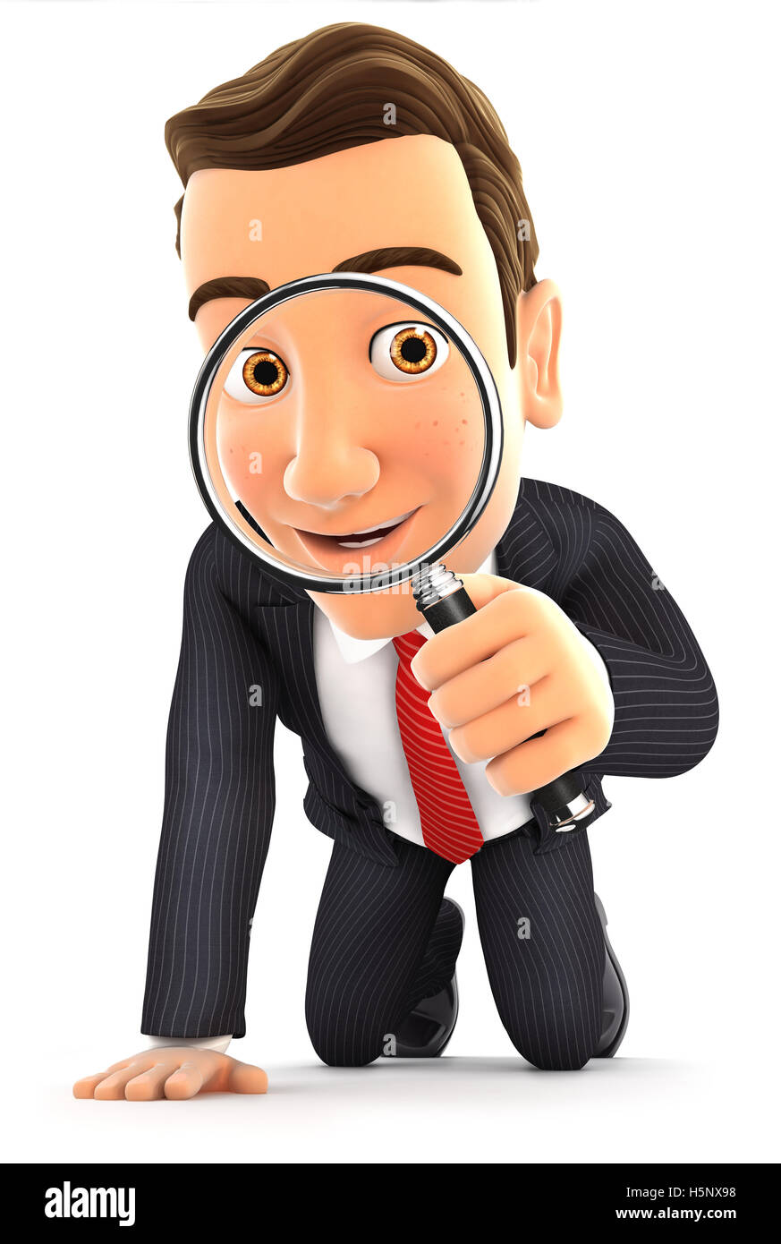 3d businessman looking through a magnifying glass, illustration with isolated white background Stock Photo