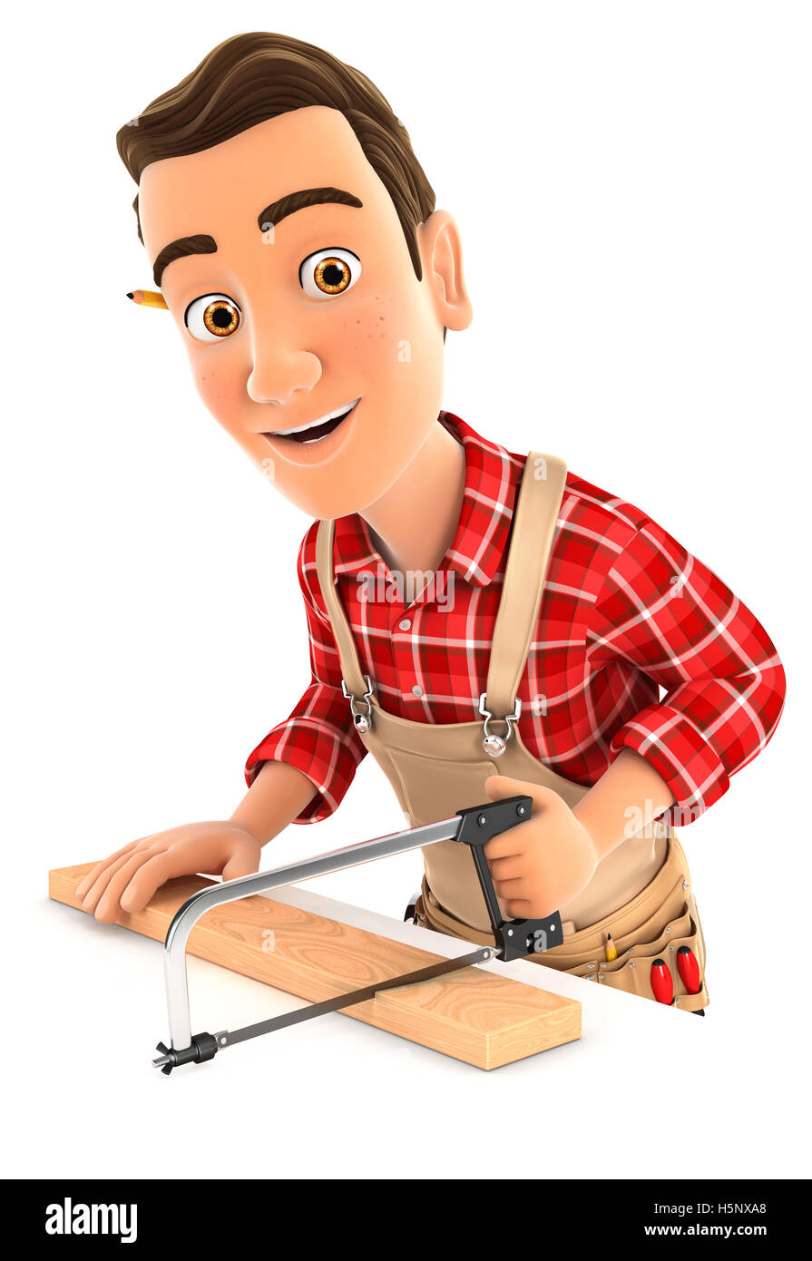 3d handyman sawing wooden plank, illustration with isolated white background Stock Photo