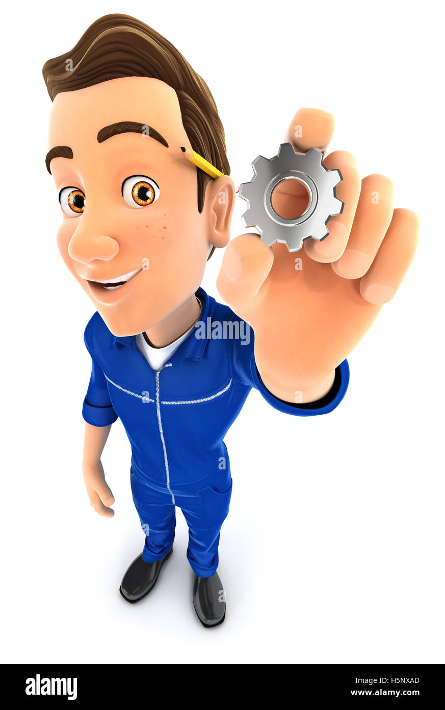 3d mechanic holding a gear, illustration with isolated white background Stock Photo