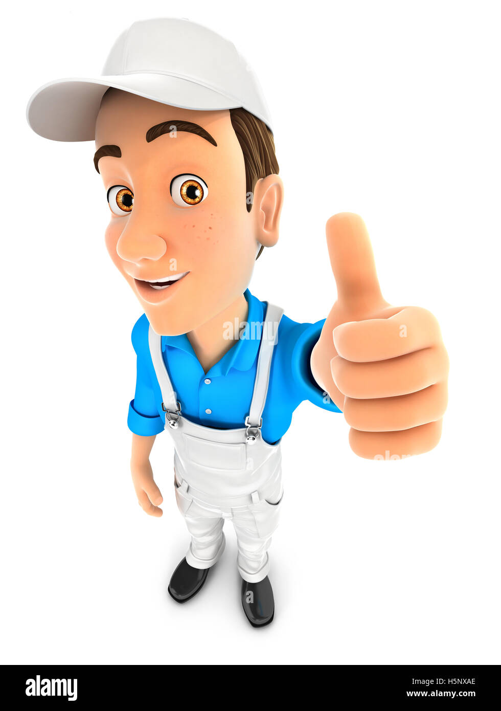 3d painter positive pose with thumb up, illustration with isolated white background Stock Photo
