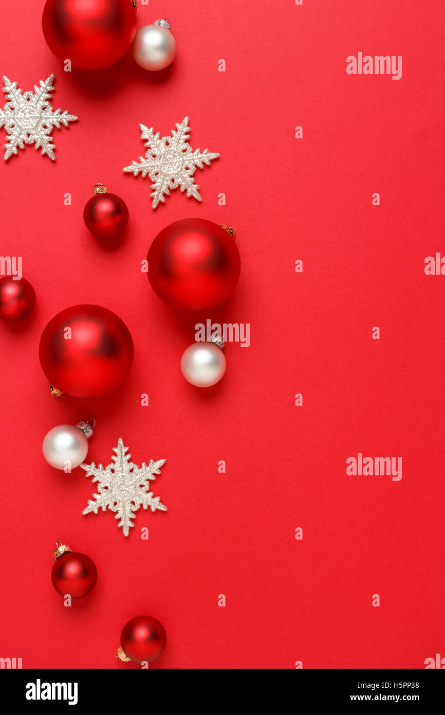 christmas ornaments decorations background classic red and white glass baubles balls with giltter snowflakes vertical - Red Silver Christmas Decorations