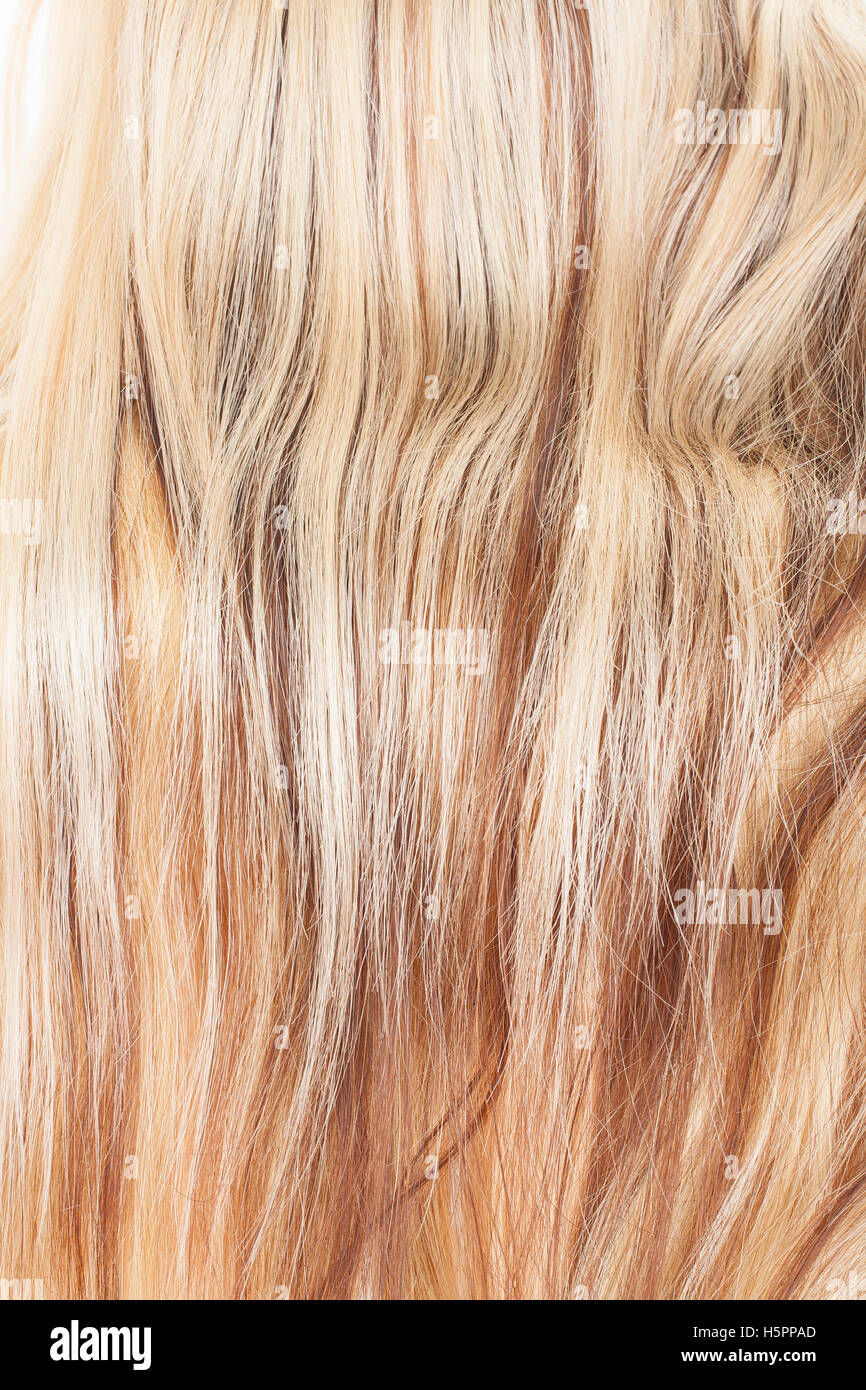 Blond Red And Black Real Women Human Hair Extension Weft Close Up