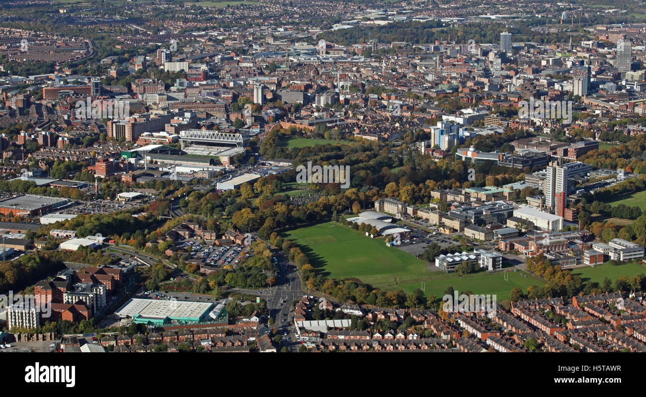 aerial view of the Leicester skyline, UK - Stock Image