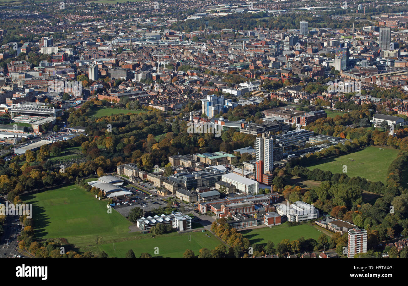 aerial view of The University of Leicester with the city centre in the background, UK - Stock Image