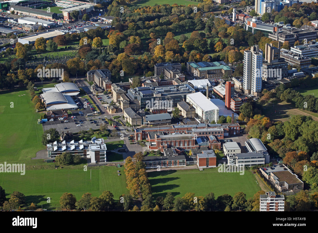 aerial view of The University of Leicester, UK - Stock Image
