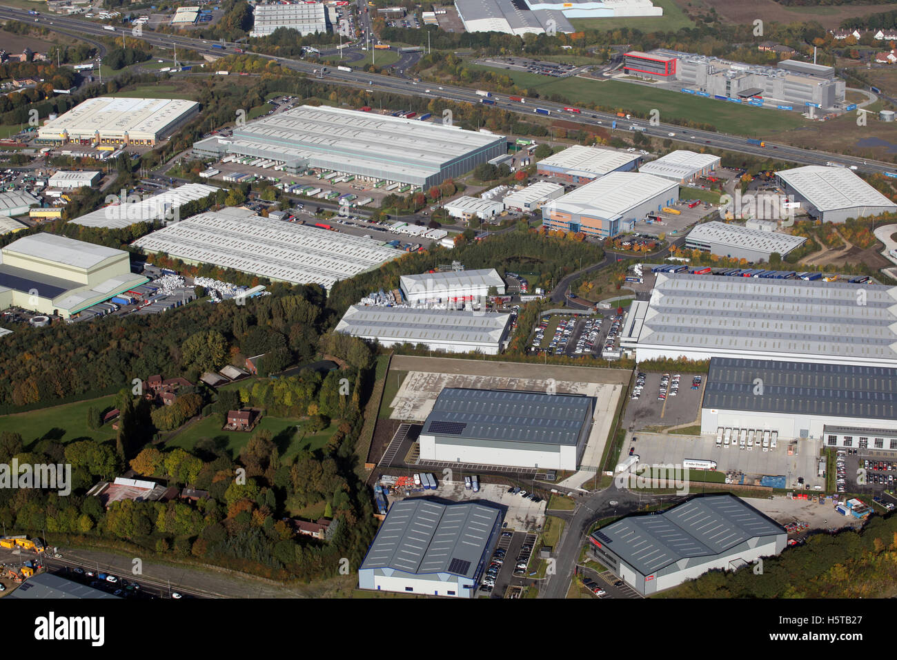 aerial view of Normanton Industrial Estate in West Yorkshire, UK - Stock Image