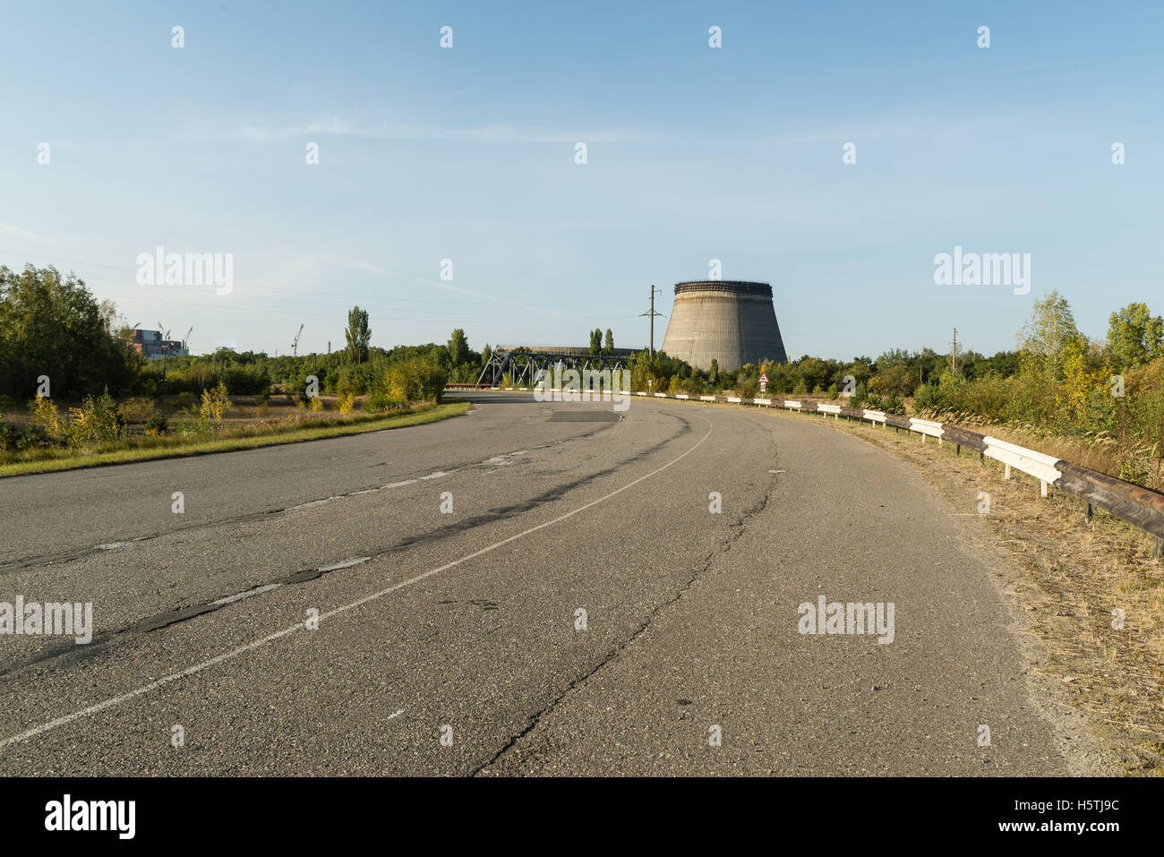 Unfinished tower of reactor 5 what were left unfinished after nuclear disaster. - Stock Image