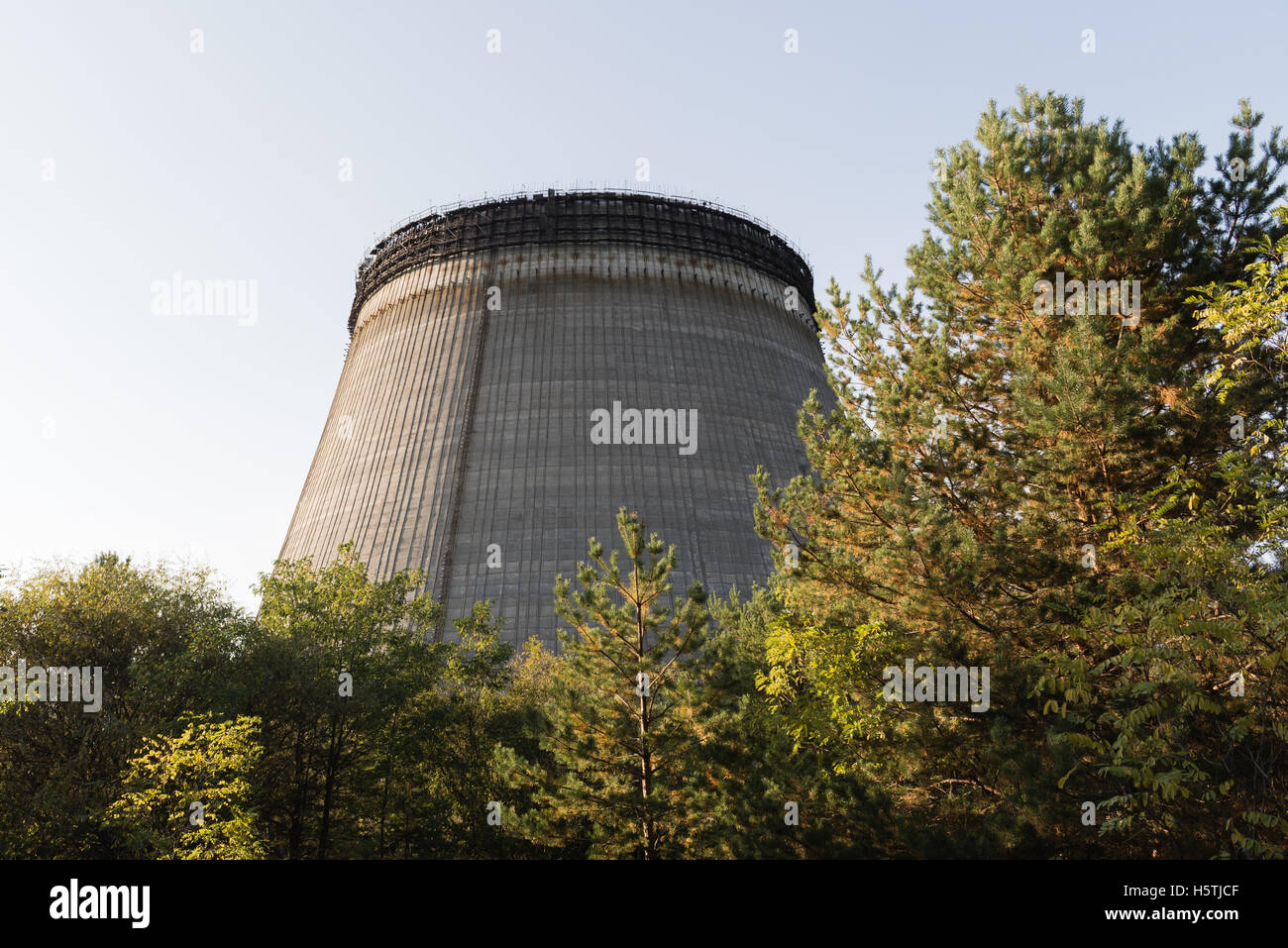 Unfinished tower of reactor 5 what were left unfinished after nuclear disaster. Stock Photo