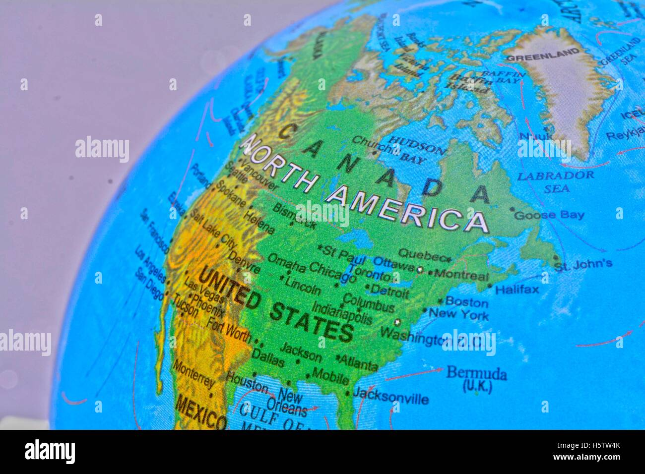A Globe showing the map of United States and Canada Stock ...