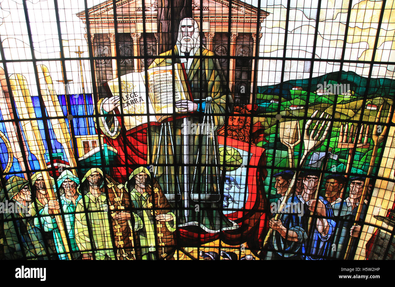 the Stained Glass Room.Stained glass that covers the entire ceiling.Guernica Tree and the history of the assemblies - Stock Image
