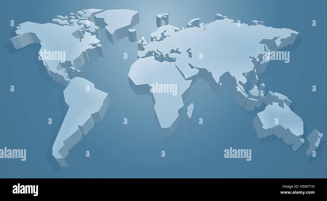 A 3d Blue World Map Background Concept Stock Photo 124100189 Alamy
