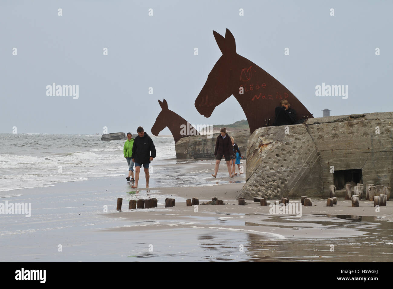 at the beach of blavand in denmark in the summer horse sculpture and stock photo 124107610 alamy. Black Bedroom Furniture Sets. Home Design Ideas