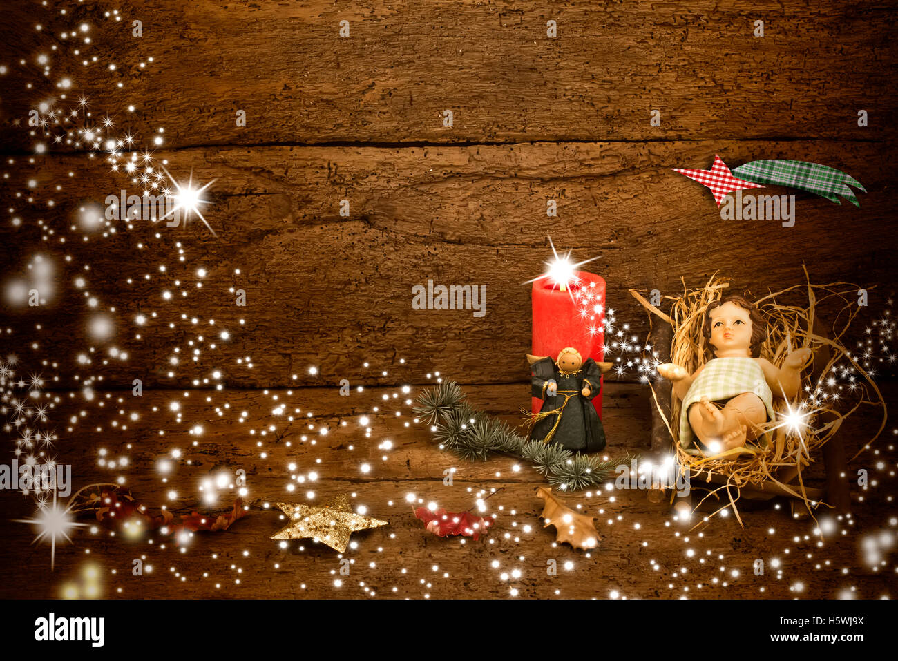 Christmas card with space for message, the Child Jesus in his crib ...