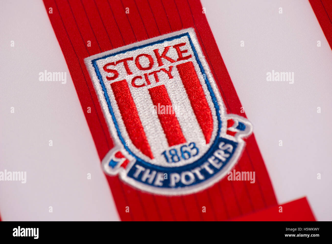 Premier League Stoke City football club badge Stock Photo