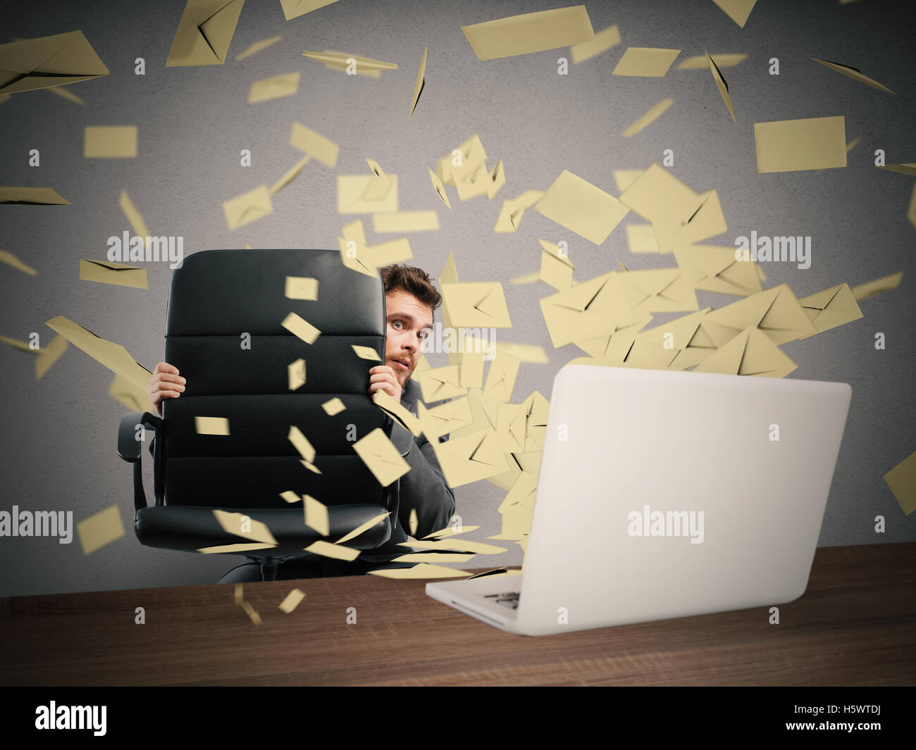Scared by too many email - Stock Image