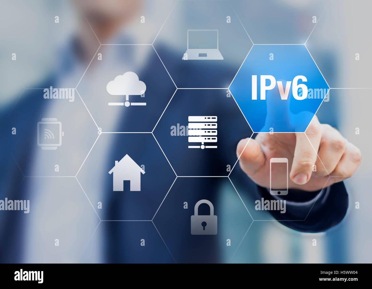 Presentation of IPv6 internet protocol to connect all smart objects of our homes and life, concept about iot - Stock Image
