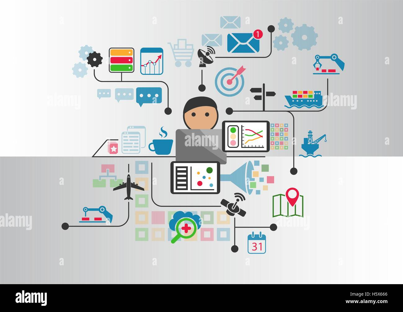Industrial internet or industry 4.0 vector background with person controlling connected objects from notebook - Stock Image