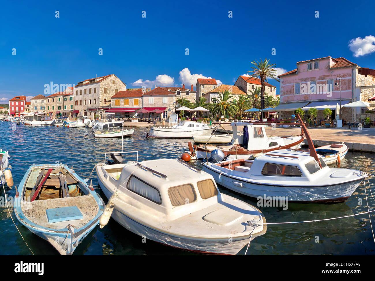 Stari Grad waterfront summer view panorama, island of Hvar, Croatia Stock Photo