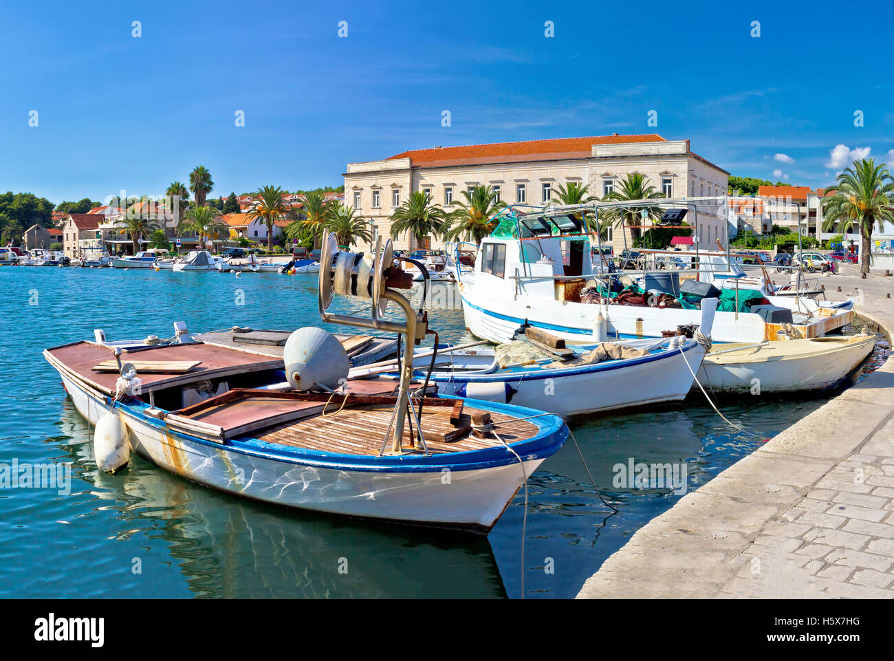 Fishing boat in Stari Grad harbor, Island of Hvar, Croatia - Stock Image