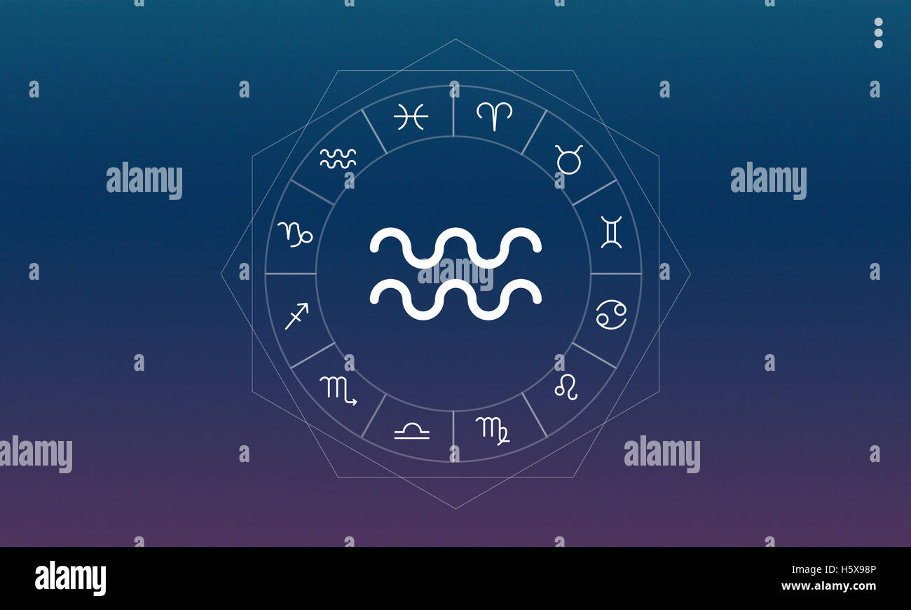 Aquarius Horoscope Fortune Zodiac Prediction Graphic Concept - Stock Image