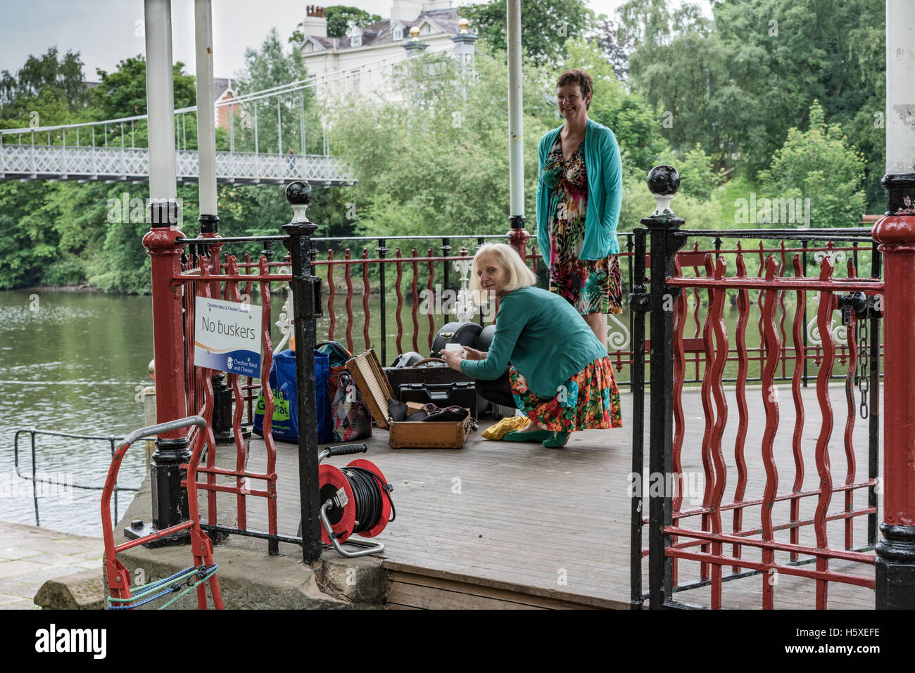 A band starts to setup on the Chester Groves' bandstand - Stock Image