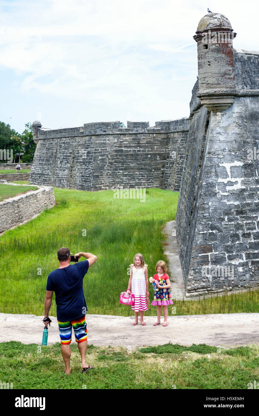 St. Saint Augustine Florida Castillo de San Marcos National Monument sentry post historic fort family man father - Stock Image