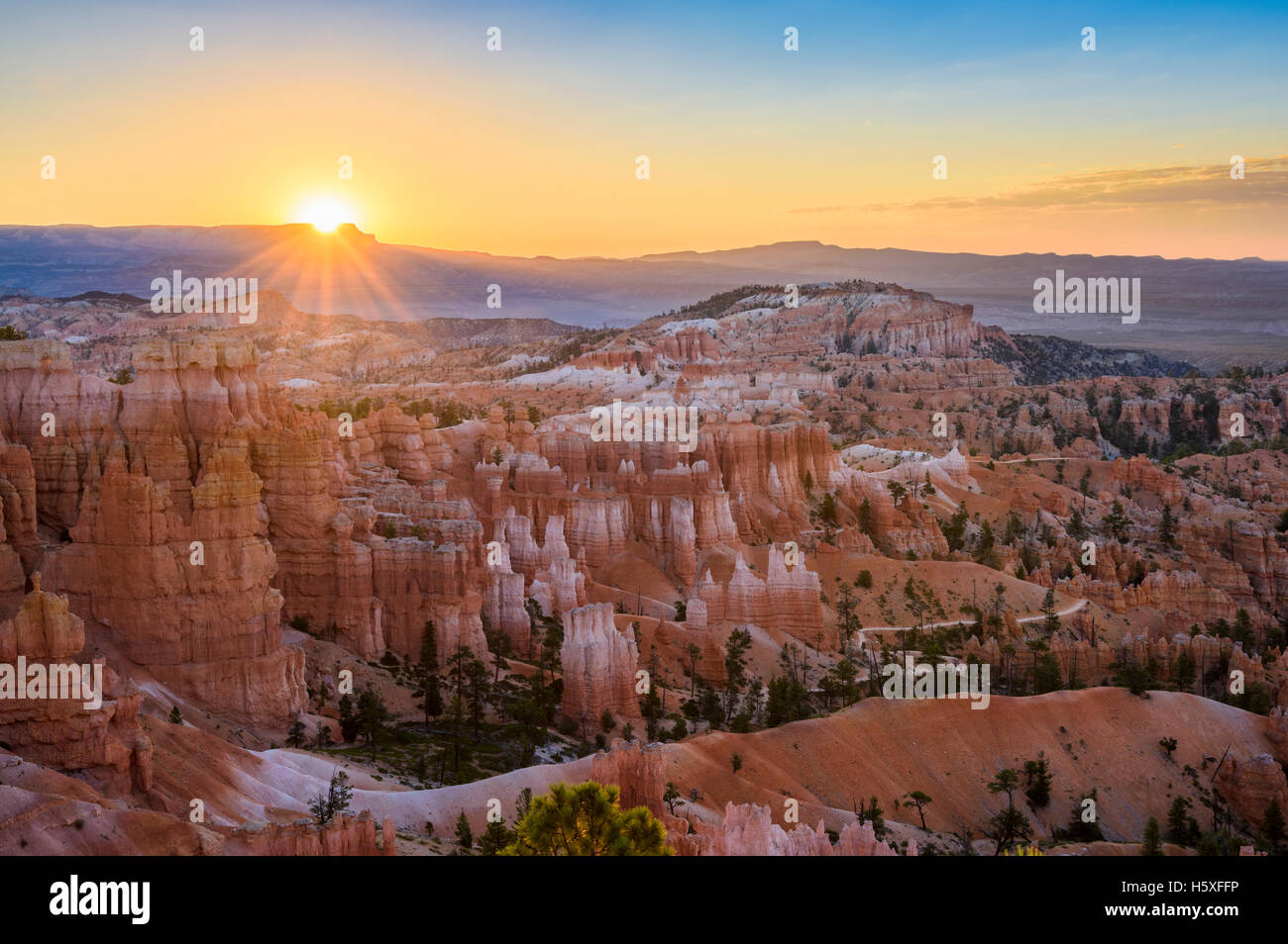 Sunrise, scenic views, Bryce Canyon National Park, located Utah, in the Southwestern United States. - Stock Image