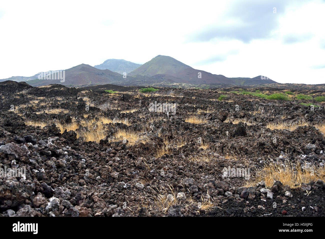The Lava Fields at Booby Hill in the South West of Ascension Island - Stock Image