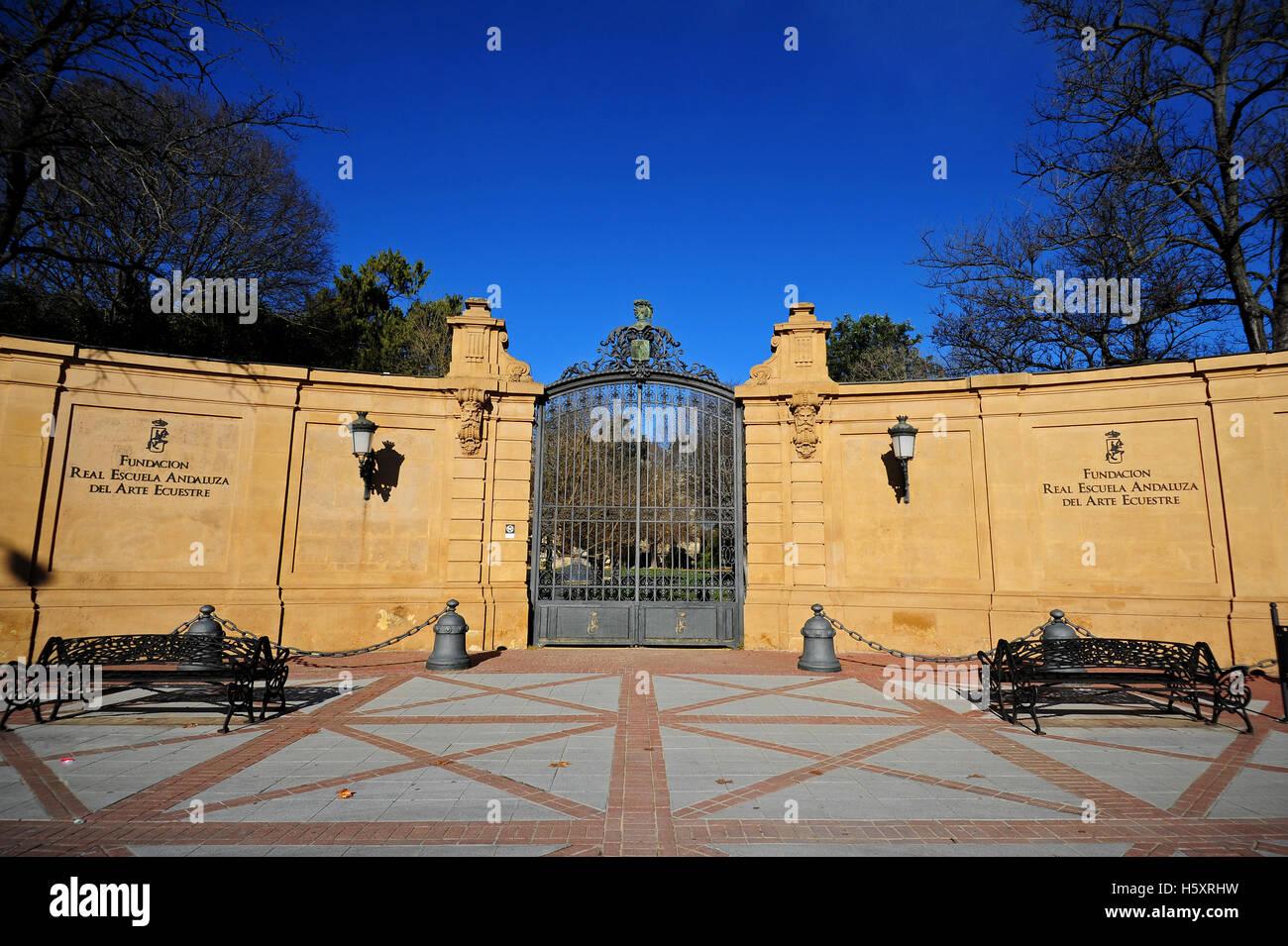The entrance to the Fundacion Real Escuela Andaluza del Arte Equestre in Jerez de la Frontera, Spain. - Stock Image