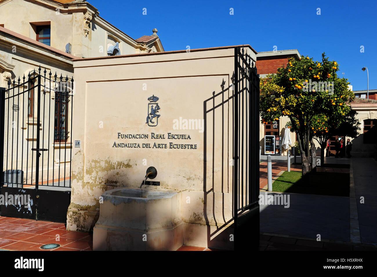 The Entrance To The Fundacion Real Escuela Andaluza Del Arte Ecuestre Stock Photo Alamy