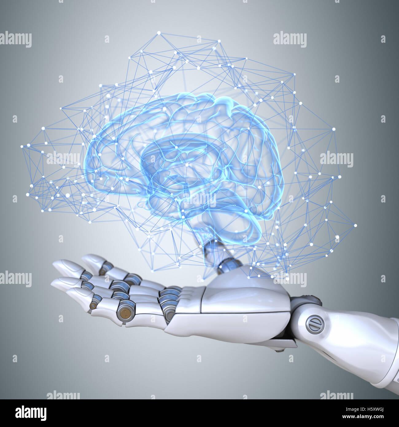 Robot hand holding virtual brain scheme - Stock Image