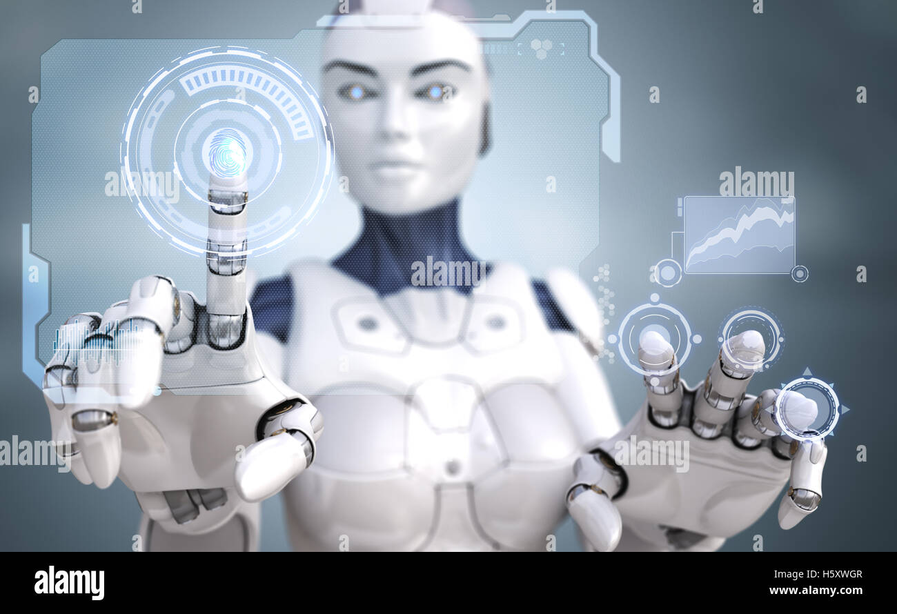 Robot working with Sci-Fi interface - Stock Image