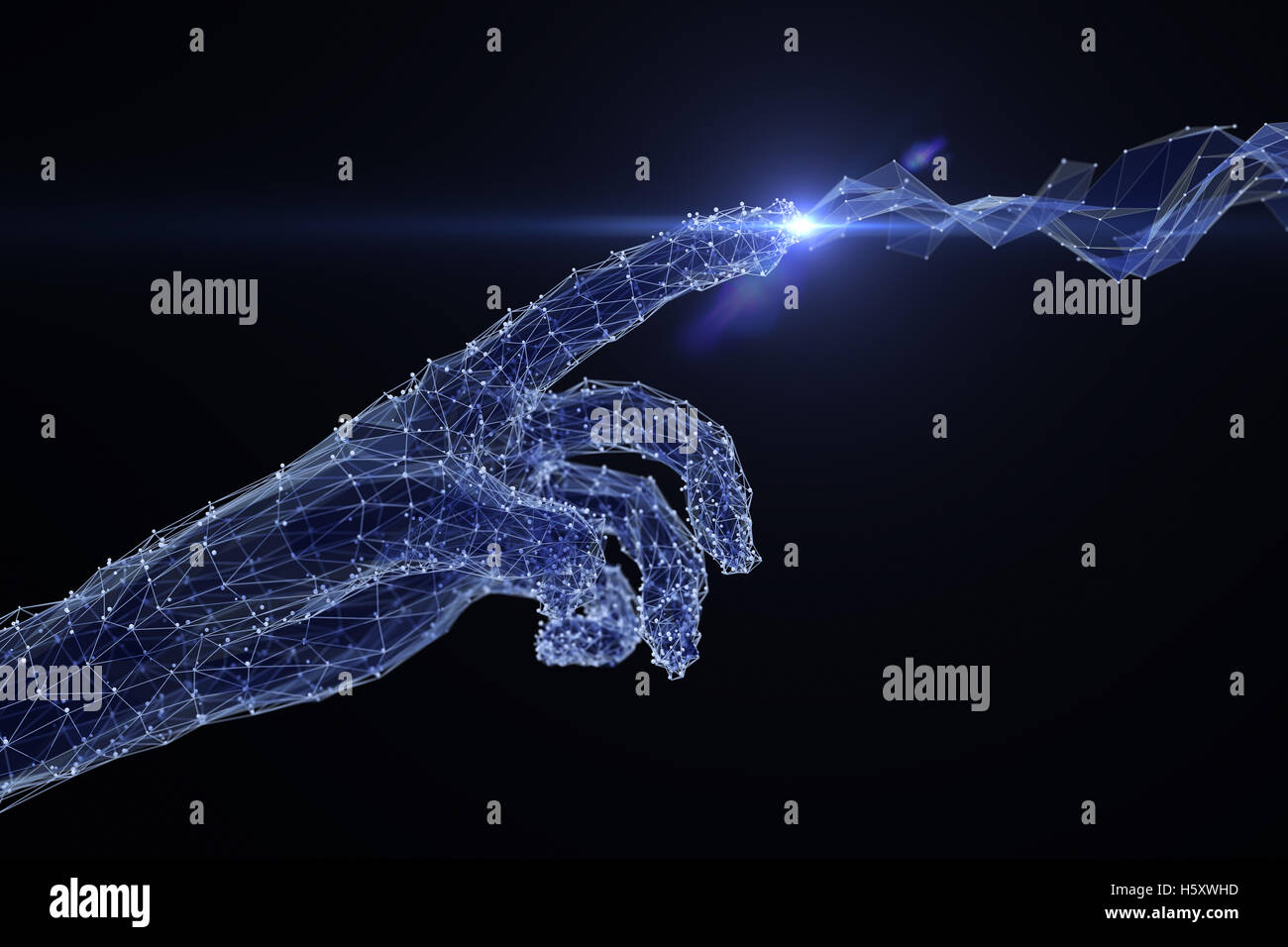 Digital hand touching the network - Stock Image
