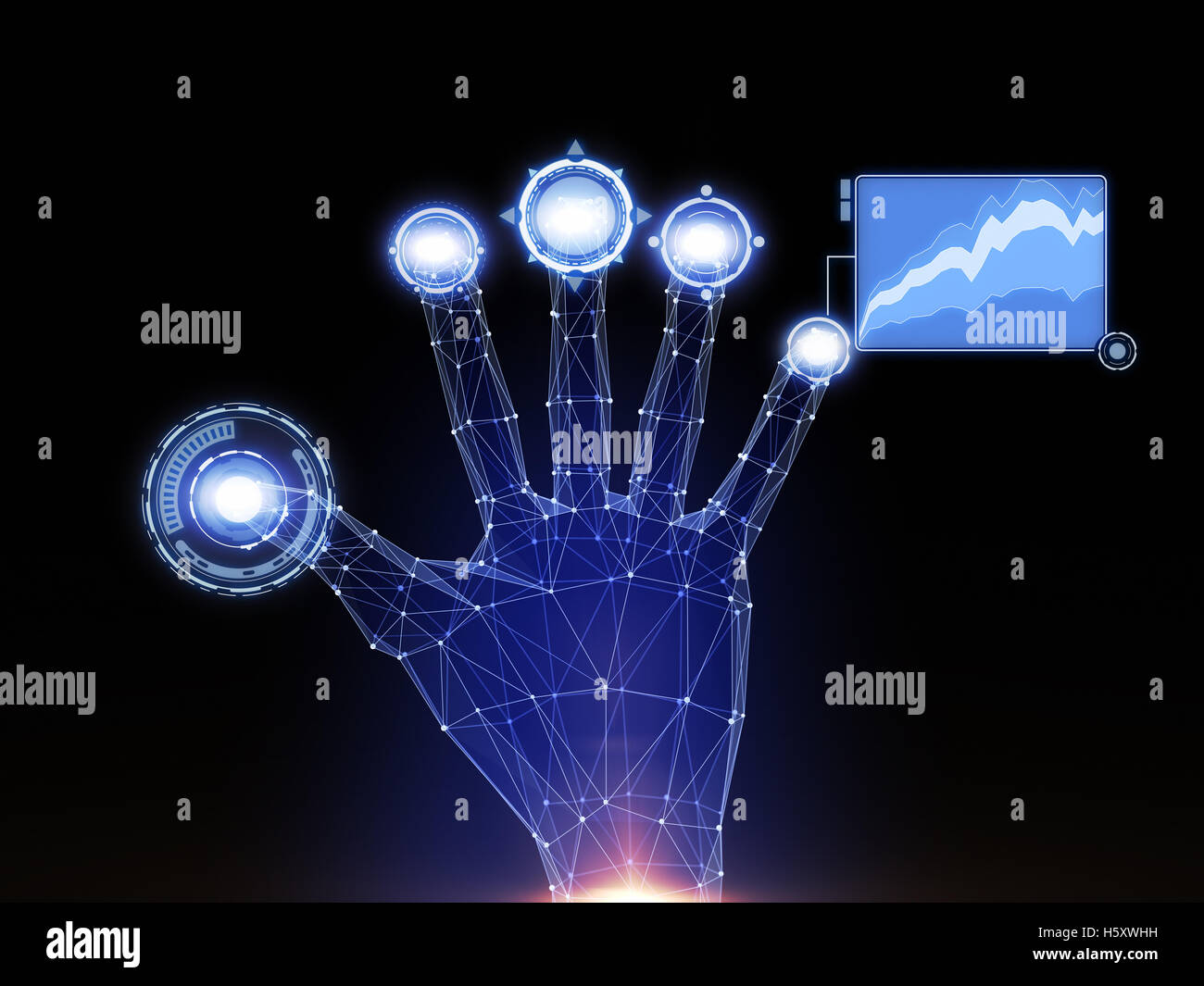 Digital hand touches Sci-Fi interface - Stock Image