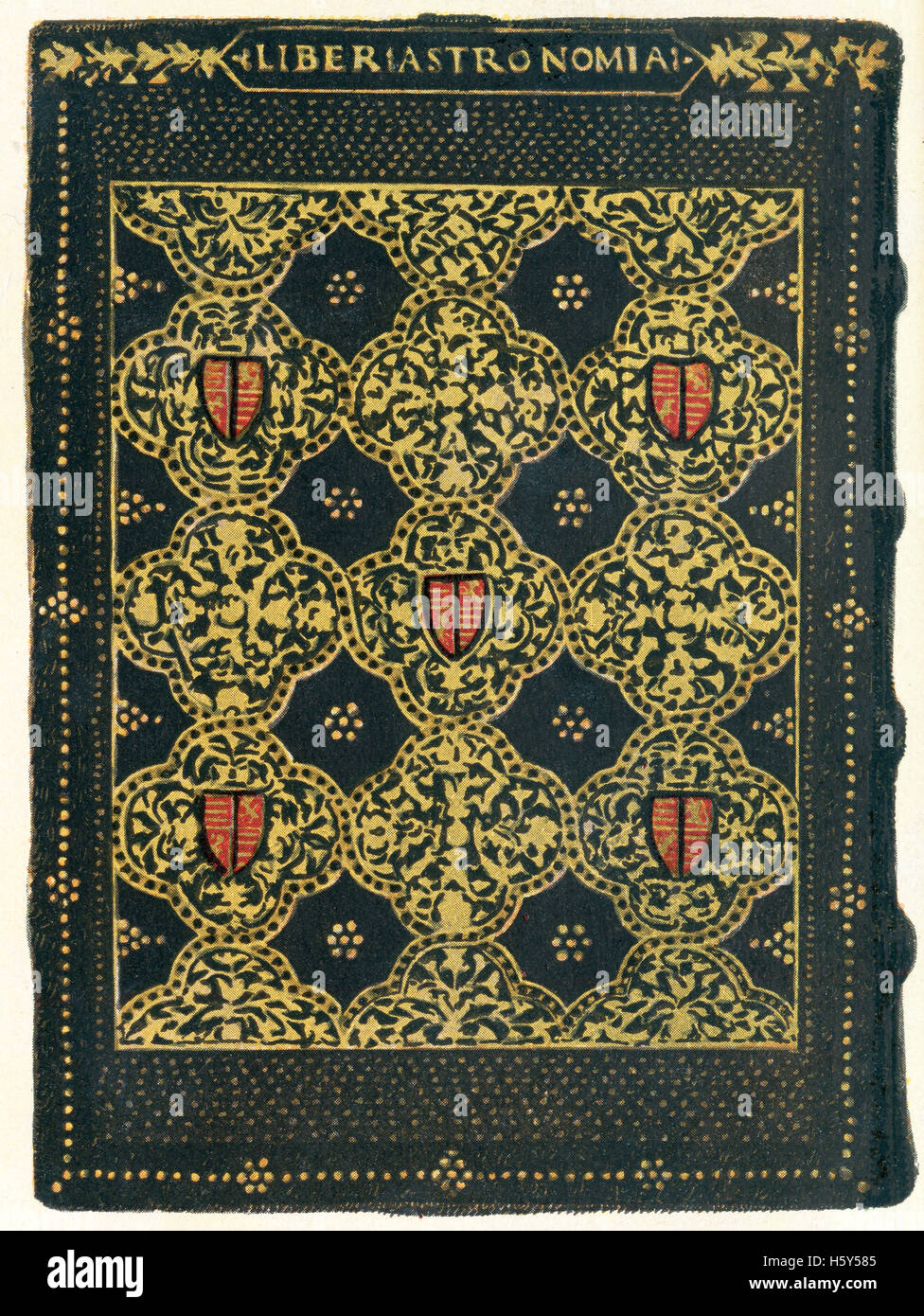 An example of 15th century German bookbinding, boards covered with tooled leather and gold decoration. - Stock Image