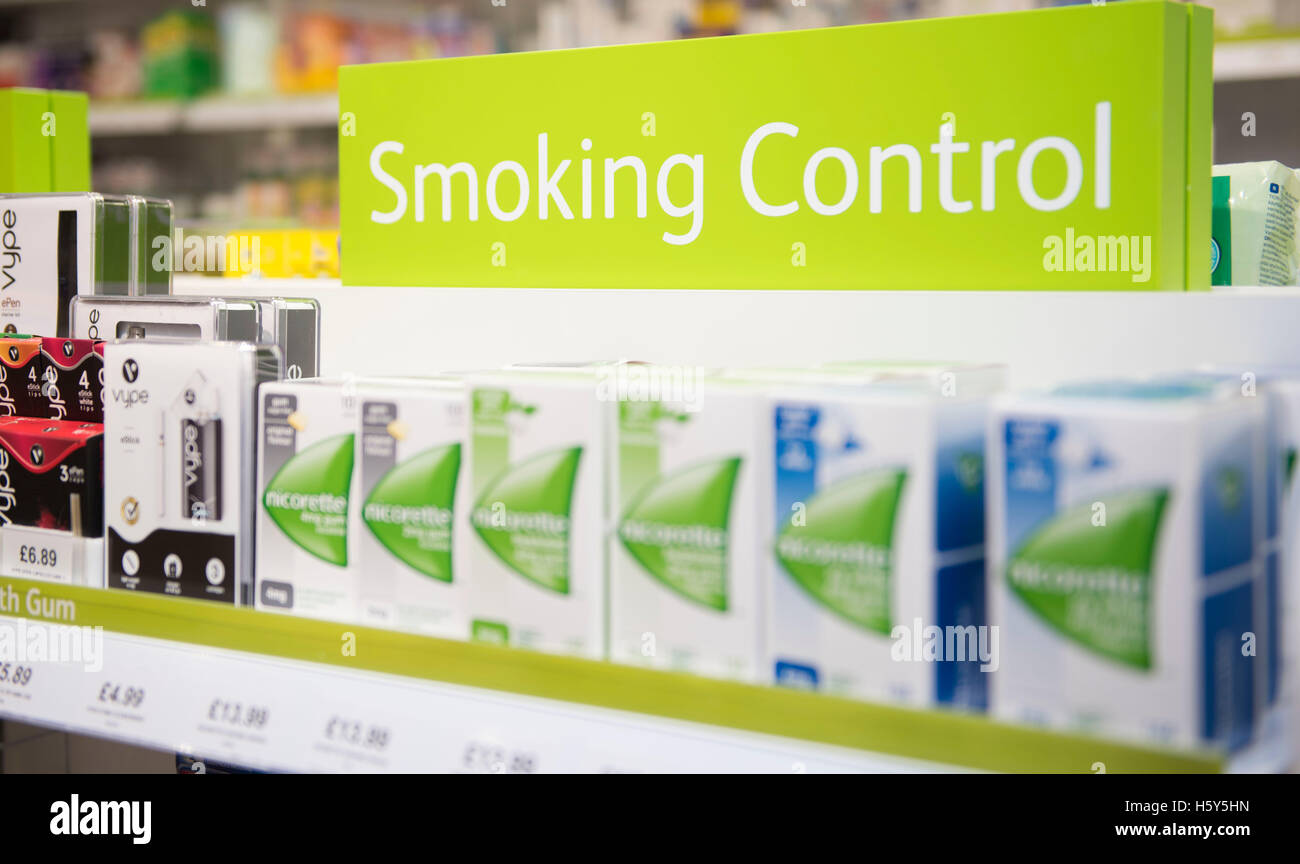 Nicorette quit smoking product patches and gum on sale on a